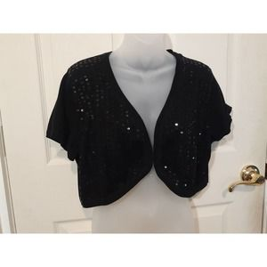 Torrid Open Cropped Black sequin cardigan shrug 1